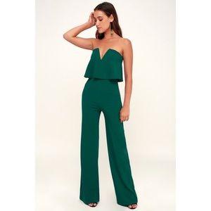 Lulu's Power of Love Emerald Green Jumpsuit